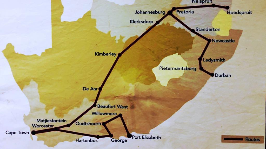 Togets rute tværs over Sydafrika