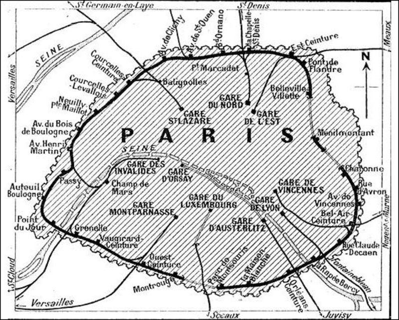 Kort over Petite Ceinture fra 1921