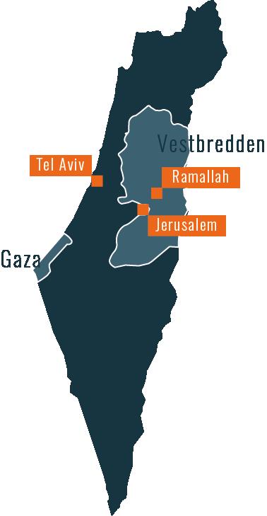Kort over Israel og Palæstina