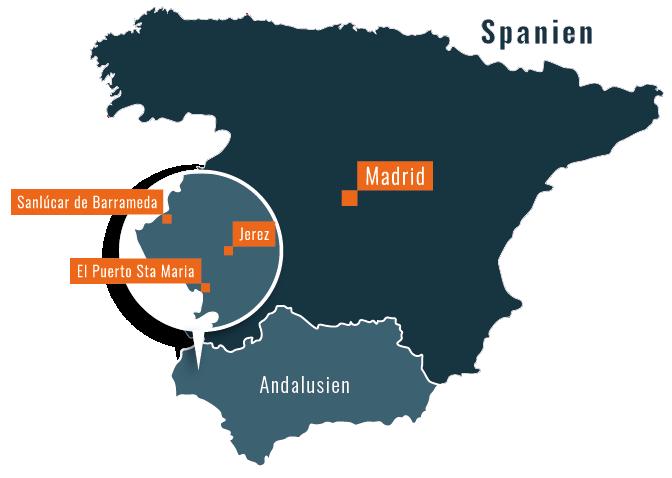 Kort over sherry-trekanten i Andalusien, Spanien - (c) Taste the World v/Per Sommer